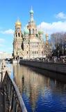 Kirche des Retters auf Blut im St Petersburg, Russland Stockfotos