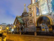Kirche des Retters auf Spilled Blut am Abend, Russland stockbilder
