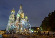 Kirche des Retters auf Spilled Blut am Abend, Russland stockbild