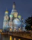 Kirche des Retters auf Spilled Blut am Abend, Russland stockfotografie