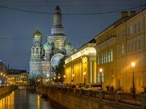 Kirche des Retters auf Spilled Blut am Abend, Russland stockfotos