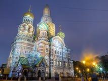 Kirche des Retters auf Spilled Blut am Abend, Russland lizenzfreies stockfoto