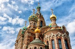 Kirche des Retters auf Spilled Blut-Badekurortna Krovi, St Petersburg, Russland stockfotografie
