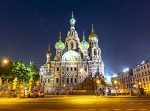 Kirche des Retters auf Spilled Blut nachts, St Petersburg, Russland lizenzfreie stockfotografie