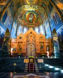Kirche des Retters auf Spilled Blutinnenraum in St Petersburg, Russland stockbild