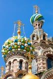 Kirche des Retters auf verschüttetem Blut im St Petersburg Stockfotos
