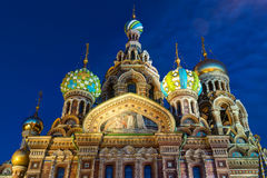 Kirche des Retters auf verschüttetem Blut im St Petersburg Stockfotografie