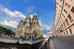 Kirche des Retters auf verschüttetem Blut in St Petersburg Stockbild