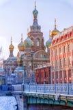 Kirche des Retters auf verschüttetem Blut in St Petersburg Stockfotos