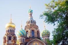 Kirche des Retters auf verschüttetem Blut St Petersburg, Russland Stockbilder