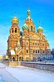 Kirche des Retters auf verschüttetem Blut in St Petersburg, Russland Stockbilder