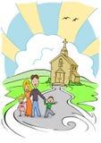 Kirche-Familie Stockfotografie