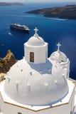 Kirche in Fira, Santorini Lizenzfreies Stockbild