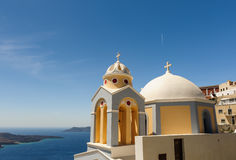 Kirche in Fira, Santorini Stockfotos