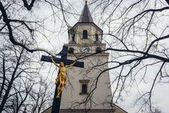 Kirche in Frydlant nad Ostravici stockfotos