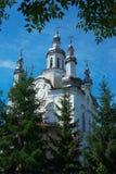 Kirche gestaltet mit Bäumen Stockfoto