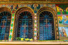 Kirche im Nord-Stelae-Park von Aksum, Äthiopien lizenzfreies stockbild