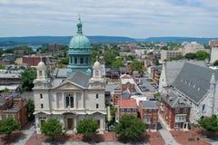 Kirche in im Stadtzentrum gelegenem Harrisburg, Pennsylvania lizenzfreies stockbild