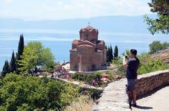 Kirche Jovan Kaneo, Ohrid See Stockbild