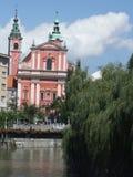 Kirche in Ljubljana Stockbild