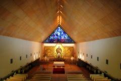 Kirche mit Bild von Jesus Stockbild