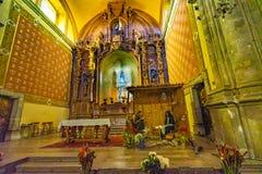 Kirche Oaxaca Mexiko Basilika-Altar-Weihnachtskinderkrippe Templo Compania stockbilder