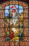 Kirche Paris Frankreich Jesus Ressurection Stained Glass Saints Louis En L'ile stockfotografie