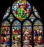 Kirche Paris Frankreich St. John Baptist Stained Glass Saint Severin Lizenzfreie Stockbilder