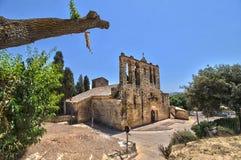 Kirche Sans Esteban in Peratallada Lizenzfreies Stockfoto