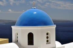 Kirche in Santorini Stockfotos