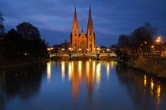 Kirche St. Pauls am Abend, Straßburg, Frankreich Stockfoto