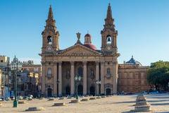 Kirche St. Publius in Floriana auf Quadrat Pjazza San Publju, Vall Lizenzfreies Stockbild