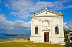 Kirche Str.-George, Piran - Slowenien Stockfotos