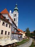 Kirche Str.-Jost, Cesky Krumlov, Tschechische Republik stockfotos