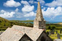 Kirche Trebetherick Cornwall St. Enodoc Stockbild