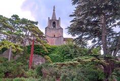 Kirche umgeben durch Bäume Lizenzfreies Stockfoto