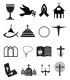 Kirche und andere christliche Symbol-Ikonen eingestellt Stockbild