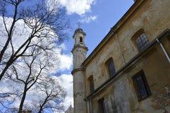 Kirche und Turm in der alten Stadt in Vilnius lizenzfreies stockfoto