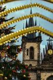 Kirche unserer Dame vor TÃ-½ n, vom alten Marktplatz, Prag Stockbilder