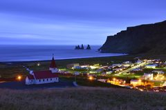 Kirche Vik I Myrdal, Süd-Island Lizenzfreies Stockbild
