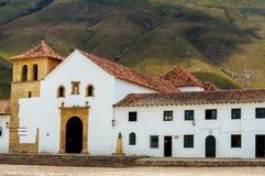 Kirche in Villa de Leyva stockfoto
