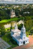 Kirche von Alexander Nevsky im weichen Licht Draufsicht Vologda Russland-Markstein Stockfotos
