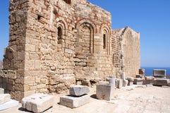 Kirche von Johannes auf der Akropolise, Lindos Stockbild