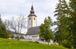Kirche von Johannes der Baptist, Bohinj See Stockbilder