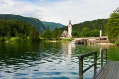 Kirche von Johannes der Baptist, Bohinj See, Slowenien Stockbilder