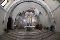 Kirche von Madonna-delle Grotte bei Antrodoco Rieti, Italien Lizenzfreies Stockfoto