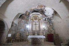 Kirche von Madonna-delle Grotte bei Antrodoco Rieti, Italien Lizenzfreie Stockbilder