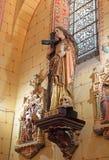 Kirche von Rennes le chateau, Marie Madeleine-Statue Lizenzfreies Stockfoto