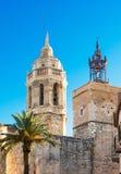 Kirche von Sant Bartomeu u. von Santa Tecla in Sitges, Spanien Stockfotografie