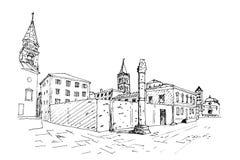 Kirche von St. Donat auf dem römischen Forum, Zadar, Kroatien stock abbildung